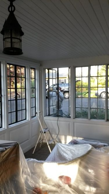Restoring rolled steel casement windows through removal, re-glazing, cold galvanizing and re-painting. Interior and exterior restoration Huntingdon Valley, PA