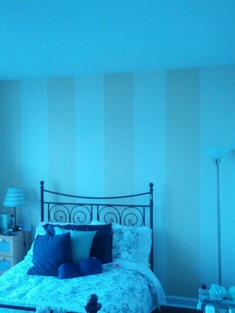 Practical accent wall with vertical stripes in lieu of expensive wallpaper Philadelphia, PA